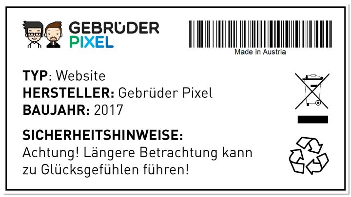 Gebrüder Pixel Typenschild